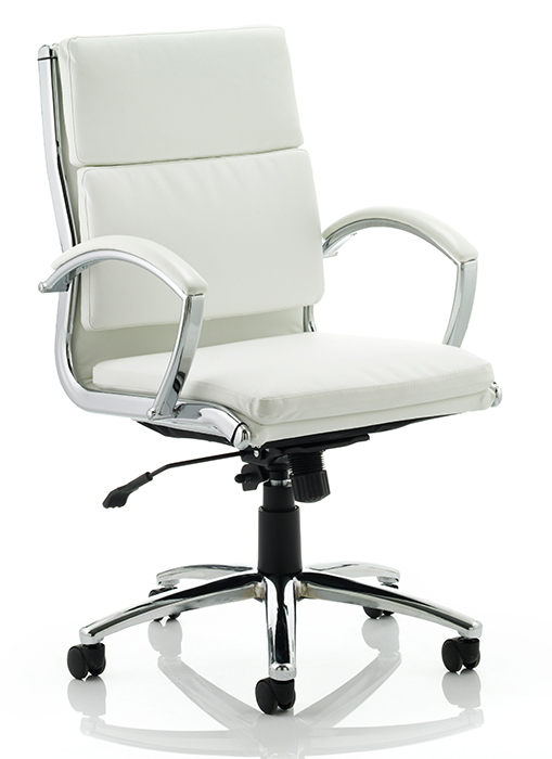 classic medium back office chair white leather