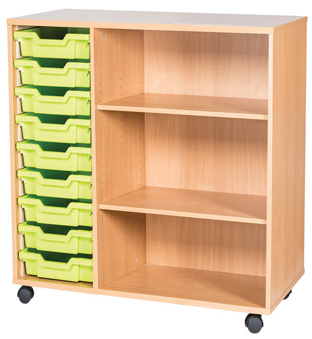 An image of 9 Tray Triple Mobile Unit with Shelves