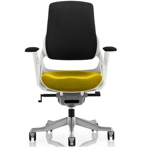 An image of Zephyr Executive Office Chair - Yellow Seatpad with Arms