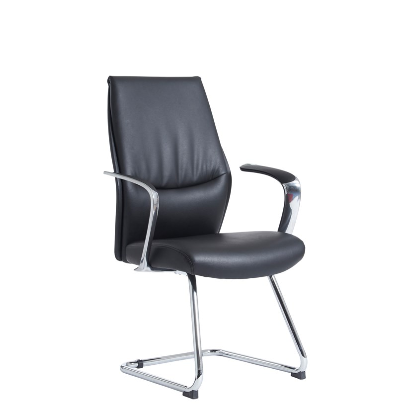 An image of  Limoges Executive Visitors Chair - Black Faux Leather